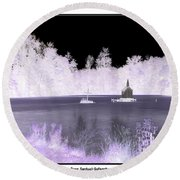 Worlds Smallest Chapel Church Negative Inverted Image Round Beach Towel