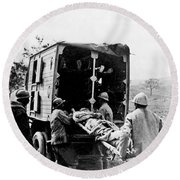 Wounded At The Battle Of Somme - Wwi -- France Round Beach Towel