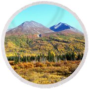 Wrangell Mountains Colors Round Beach Towel