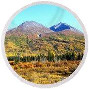 Wrangell Mountains Colors Round Beach Towel
