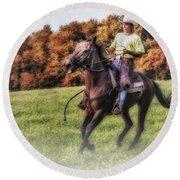 Wrangler And Horse Round Beach Towel by Susan Candelario