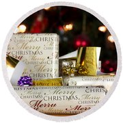 Wrapped Gifts With Tags Round Beach Towel