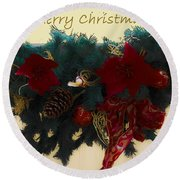 Wreath Garland Greeting Round Beach Towel by DigiArt Diaries by Vicky B Fuller