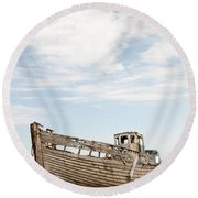 Wrecked Boat Round Beach Towel