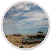 Wrecked Boats Dungeness Round Beach Towel