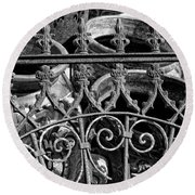 Wrought Iron Gate And Pots Black And White Round Beach Towel