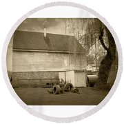 Wye Mill - Sepia Round Beach Towel