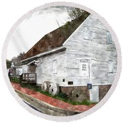Wye Mill - Water Color Effect Round Beach Towel by Brian Wallace