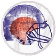 X-ray Of Head In Football Helmet Round Beach Towel