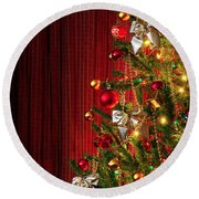 Xmas Tree On Red Round Beach Towel by Carlos Caetano