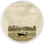 Yacht Entering Christchurch Harbour Round Beach Towel