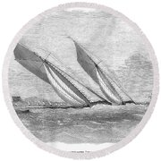 Yacht Race, 1854 Round Beach Towel