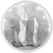 Yacht Race, 1855 Round Beach Towel