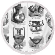 Yachting Trophies, 1871 Round Beach Towel