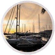 Yachts At Sunset Round Beach Towel by Carlos Caetano