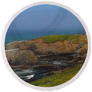 Yaquina Head Lighthouse And Bay - Posterized Round Beach Towel