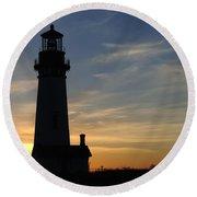 Yaquina Lighthouse Round Beach Towel