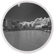 Yarrah River Melbourne In B And W Round Beach Towel