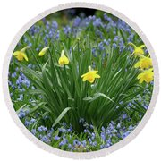 Yellow And Blue Flowers Round Beach Towel