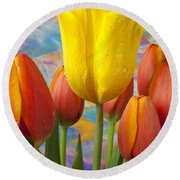 Yellow And Orange Tulips Round Beach Towel