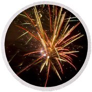 Yellow And Red Fireworks Round Beach Towel