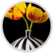 Yellow And Red Tulips Round Beach Towel