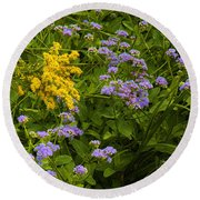 Yellow And Violet Flowers Round Beach Towel