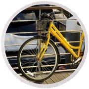 Yellow Bicycle Round Beach Towel