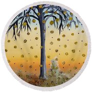 Yellow-blossomed Wishing Tree Round Beach Towel