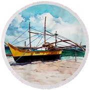 Yellow Boat Docking On The Shore Round Beach Towel