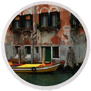 Yellow Boat Venice Italy Round Beach Towel