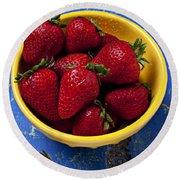 Yellow Bowl Of Strawberries Round Beach Towel