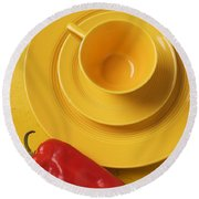 Yellow Cup And Plate Round Beach Towel