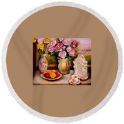 Yellow Daffodils Red Roses  Peaches And Oranges With Tea Cup  Round Beach Towel