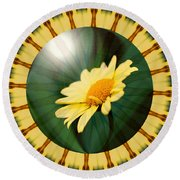 Yellow Daisy Energy Round Beach Towel