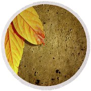 Yellow Fall Leafs Round Beach Towel