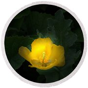 Yellow Flower Against Green Round Beach Towel