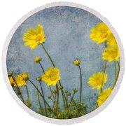 Yellow Flower Blossoms Round Beach Towel