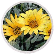 Yellow Gazanias Round Beach Towel