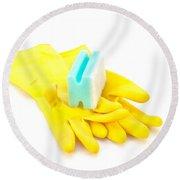 Yellow Gloves Round Beach Towel