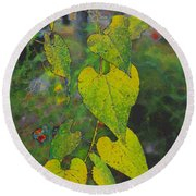 Yellow Heart Leaves IIi Photoart Round Beach Towel