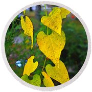 Yellow Heart Leaves  Photoart I Round Beach Towel