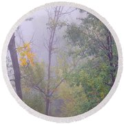 Yellow In The Fog Round Beach Towel