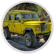 Yellow Jeep Round Beach Towel