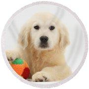 Yellow Labrador Retriever Pup Round Beach Towel