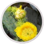 Yellow Lace Unveiled Round Beach Towel