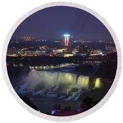 Yellow Light Over The Niagara Falls  - Canada Round Beach Towel
