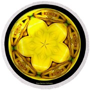 Yellow Lily Kaleidoscope Under Glass Round Beach Towel