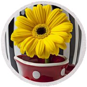 Yellow Mum In Pitcher  Round Beach Towel