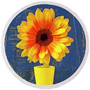 Yellow Mum In Yellow Vase Round Beach Towel